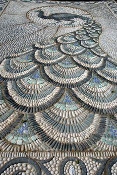 pebble mosaic peacock