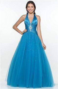 Beading Ball Gown Floor-length Halter Sleeveless Sweet 16 #Dress Style Code: 05479 $184