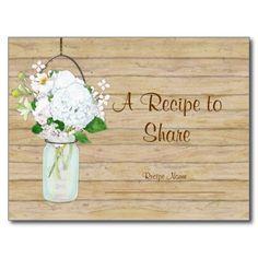 Rustic Country Mason Jar Flowers White Hydrangeas Post Card