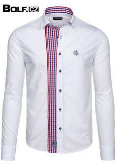 Košile s módním kostkovaným prošitím podél knoflíkové legy. Košile jsou k dispozici ve 3 barveních variantách.