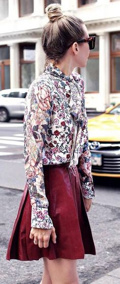 beautiful valentines day outfit / floral blouse and maroon skirt