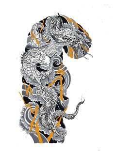 Dragon Tattoo Colour, Dragon Tattoo Art, Dragon Sleeve Tattoos, Dragon Tattoo Designs, Tattoo Sleeve Designs, Japanese Dragon Tattoos, Japanese Tattoo Art, Japanese Tattoo Designs, Japanese Sleeve Tattoos