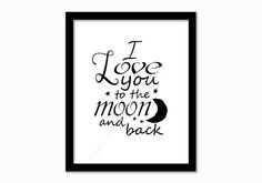 I love you to the moon and back print. Instant download printable. PDF JPG diy digital wall art. Stars and Moon print Love print Bedroom art by GrapevineDesignShop on Etsy
