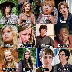 The children from The Walking Dead (Seasons 1 through Walking Dead Funny, The Walking Dead Tv, Walking Dead Season, Walking Dead Zombies, Judith Grimes, Carl Grimes, Riggs Chandler, The Walkind Dead, Twd Memes