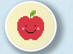 Happy Red Apple. Cross Stitch Pattern. PDF File. $3.00, via Etsy.
