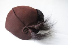 Glamour vintage 40s chocolate brown wool fascinator hat by VezaVe, $42.00