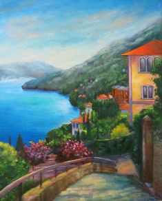 Moltrasio, Lake Como, one of my favourite holiday locations, which I have painted in oil on deep edge canvas. Lake Como, Favorite Holiday, Beautiful Places, Around The Worlds, Canvas, Artist, Painting, Ideas, Painting Art
