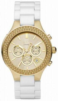 DKNY Ceramic Chronograph Gold-tone Dial Women's watch #NY8260 DKNY. $159.00. Chronograph Display. White Ceramic Strap. Save 42% Off!