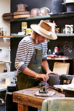 Hat maker Nick Fouquet, at work.