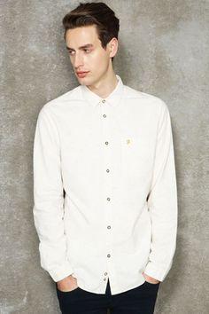 Farah Vintage Beatty Ecru Nepped Shirt