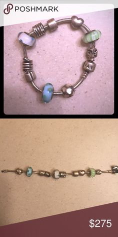Sale authentic pandora bracelet with 8 charms and 2 iders