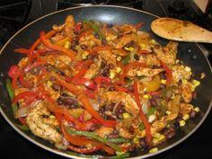 Chicken Fajits - serves 5, 147 calories