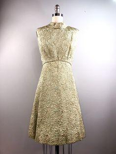 f9b9e6fb56c9 Ceil Chapman 60s Vintage 1960s Brocade Cocktail Party Dress Mint Green Gold  Mod Madmen 38 bust