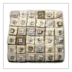 Morna Crites-Moore PIECES OF DREAMS Made from old sweaters, metallic thread, shell beads, and vintage glass seed beads; x would make a cute bracelet. Sweater Pillow, Old Sweater, Upcycled Sweater, Wet Felting, Needle Felting, Wooly Bully, Quilt Modernen, Diy Upcycling, Wool Thread