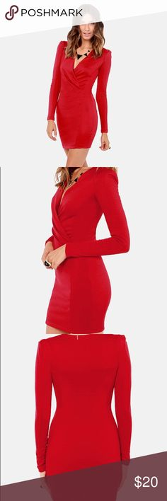 Lulu's Foreign Film Red Dress Never worn. Tight fitting but classy because of long sleeves. Unlined. Lightly padded shoulders. Lulu's Dresses Long Sleeve