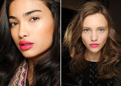 We were first intrigued by the hot pink lips at Clements Ribeiro's fall showing last year. Then after we seeing fuchsia and matte magenta lips come down the runway at Giles and DVF in February, we officially jumped on board with the 'clean face and bright pink lip' trend. If you're looking to test
