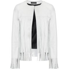 ThePerfext White Leather Fringe April Jacket ($1,835) ❤ liked on Polyvore featuring outerwear, jackets, coats, white, 100 leather jacket, real leather jacket, white jacket, long sleeve jacket and leather jacket