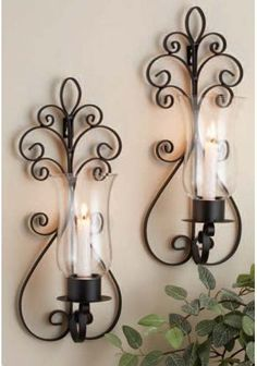 Home Essentials Set of Two (2) 17-inch Candle Holder Sconces, Large Black Metal Wall Sconces for Candles $49.99