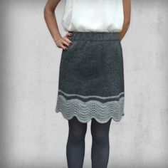 Items similar to Knitted skirt in two grey nuances and with wave edge on Etsy Knitted Skirt, Wave Pattern, Hand Knitting, Lace Skirt, Knitwear, Waves, Grey, Skirts, Color