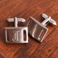 Personalized Marlon Brushed Silver Slotted Cufflinks