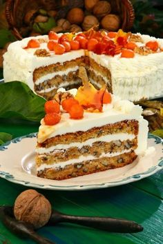 Sárgarépás diótorta mascarpone krémmel, ha tudtam volna, hogy ez ilyen finom. - Egyszerű Gyors Receptek Sweet Recipes, Real Food Recipes, Cake Recipes, Dessert Recipes, Yummy Food, Fall Desserts, Cookie Desserts, Christmas Desserts, Vegan Kitchen