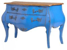 French Bombe Chest of Drawers in Deep Blue - traditional - dressers chests and bedroom armoires - Out There Interiors