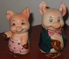 Vintage Salt and Pepper Shakers  Pigs  Made in Japan by Luv2Junk, $13.00