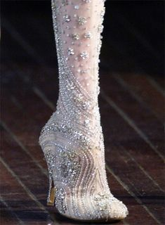 Crystal and delicate silk boots--hmm, definitely unique.Would be amazing #wedding shoes