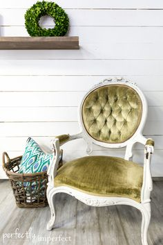 French Chair Makeover in MMS Milk Paint