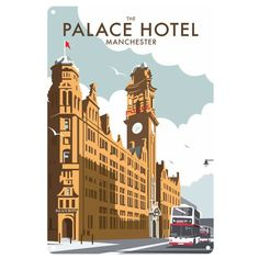size: Giclee Print: Manchester Palace Hotel - Dave Thompson Contemporary Travel Print by Dave Thompson : This exceptional art print was made using a sophisticated giclée printing process, which deliver pure, rich color and remarkable detail. Portsmouth, British Travel, Tourism Poster, Vintage Hotels, Luggage Labels, Palace Hotel, Illustrations, Vintage Travel Posters, Yosemite National Park