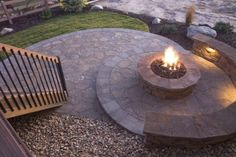 Like this firepit off of the back deck, but on the little area off of our stairs, not all the way to the bottom of the walk out.