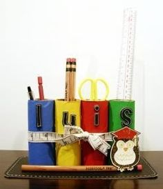 Toilet Paper Tube Desk Organizer for pens, pencils, rulers, scissors, etc.