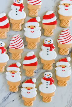Christmas in July : Santa and Snowman Ice Cream Cookies | Bake at 350° Mini Desserts, 4th Of July Desserts, Christmas Reindeer Cookies, Snowman Cookies, Summer Christmas, Tropical Christmas, Merry Christmas, Christmas Ice Cream, July Holidays