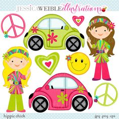 Hippie Chick Cute Digital Clipart - Commercial Use OK - Retro Girls, Peace Sign, Love Bug, Hippie Graphics
