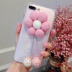 Cute Fur Ball Flower Anti-shock Soft TPU Case for iPhone 7 inch Girly Phone Cases, Diy Phone Case, Iphone Phone Cases, Mobile Phone Cases, Phone Covers, Iphone 8, Diy Mobile Cover, Mobile Covers, Accessoires Iphone