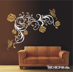 WANDTATTOO-Blumen-Ranke-2-farbig-Blumenranke-Schmetterlinge-Motiv-419-XL
