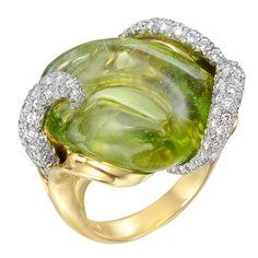 Carved Peridot & Diamond Ring