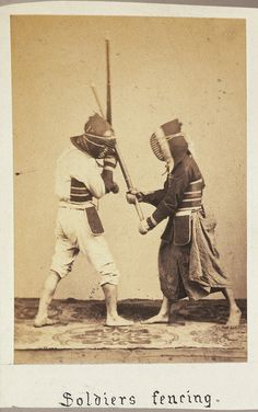 Soldiers fencing, Japan, photographed between 1867 and 1869.