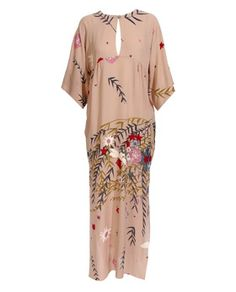 ossie clark, 1970s.  Pale pink short sleeve gown with floral pattern.