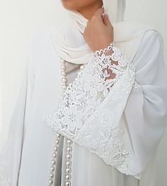 Ramadan 17 White on White Georgette, Lace & Pearl Abaya