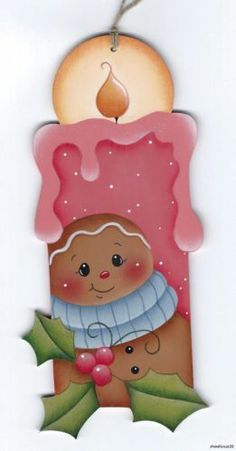 GINGERBREAD Candle - Based on a Renee Mullins design... handpainted by Pamela House