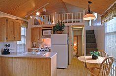 tiny house kitchen and large sleeping loft