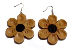 (sku no:Sew_50) A Pair of Brown Black Strap Design Coco Wooden Boho Hippie Earrings Sew_50.please visit our website www.krishnamartindia.com