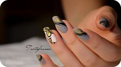 How to use foils Nail art ? tutorial Foils design by cutenails. Nail art step by steps so easy so chic ! ♥ Comment, share & like this nail art tutorial! Tammy Taylor, Nail Candy, Beautiful Nail Art, Gorgeous Nails, Perfect Nails, Music Note Nails, Nail Art Designs, Design Art, Nail Art Fleur
