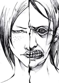 "SPOILER ABOUT YMIR'S ""SERET"" (HINT HINT: BETHOLDT, REINER): Ymir, the creepy shark-toothed Titan."