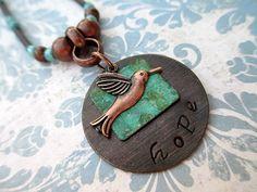 Hummingbird Hope Charm Necklace Handmade by LittleBitsOFaith, $30.00