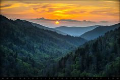 Smoky Mountains Sunset - Great Smoky Mountains Gatlinburg TN by Dave Allen Photography, via Flickr