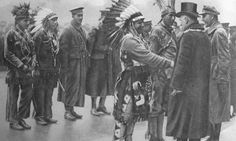 scrapironflotilla:Canadian Indians marching through the streets Of Glasgow the four Chiefs in Indian dress for the occasion. Canadian Indians meeting the Lord Provost in Glasgow. (Captions from vimyridgehistory.com my apologies if terminology is incorrect.)