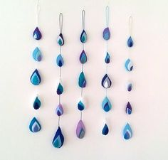 Rain Drop Garland, Blue Baby Shower Decoration, Blue Mobile Nursery Decor, Blue and Purple Raindrop Nursery Mobile, Blue Baby Boy Bunting Gifts For Wife, Gifts For Her, Etsy Handmade, Handmade Gifts, Blue Gift, Blue Painting, Nursery Decor, Nautical Nursery, Blue Design