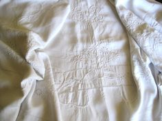Stunning Antique French Beautiful Hand Embroidered Pure Linen Dowry Sheet With Scalloped Edge & GB Mono by FatiguedFrenchFinds, $120.00